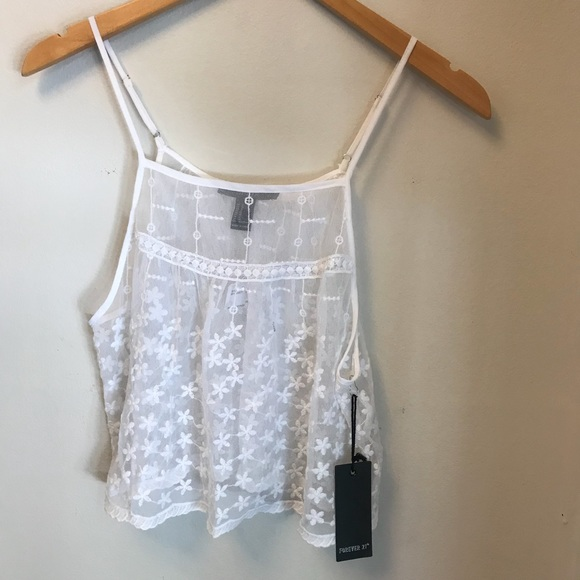 Forever 21 Tops - 🐝 Forever 21 white sheer floral cropped camisole